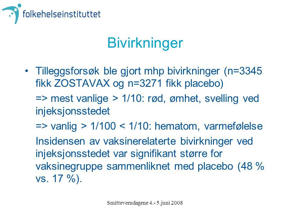 Smitteverndagene 4.- 5.juni 2008 Bivirkninger Tilleggsforsøk ble gjort mhp bivirkninger (n=3345 fikk ZOSTAVAX og n=3271 fikk placebo) => mest vanlige