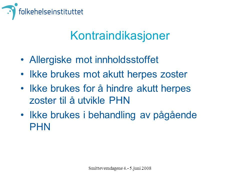 Smitteverndagene 4.- 5.juni 2008 Kontraindikasjoner Allergiske mot innholdsstoffet Ikke brukes mot akutt herpes zoster Ikke brukes for å hindre akutt