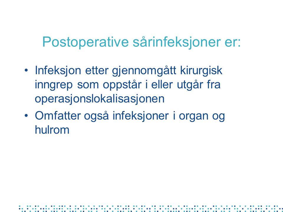 Postoperative sårinfeksjoner er: Infeksjon etter gjennomgått kirurgisk inngrep som oppstår i eller utgår fra operasjonslokalisasjonen Omfatter også in