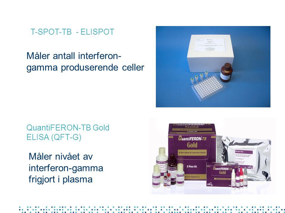 QuantiFERON-TB Gold ELISA (QFT-G) T-SPOT-TB - ELISPOT Måler antall interferon- gamma produserende celler Måler nivået av interferon-gamma frigjort i plasma