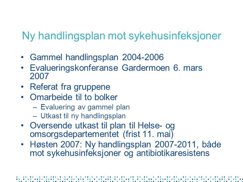 Ny handlingsplan mot sykehusinfeksjoner Gammel handlingsplan 2004-2006 Evalueringskonferanse Gardermoen 6.