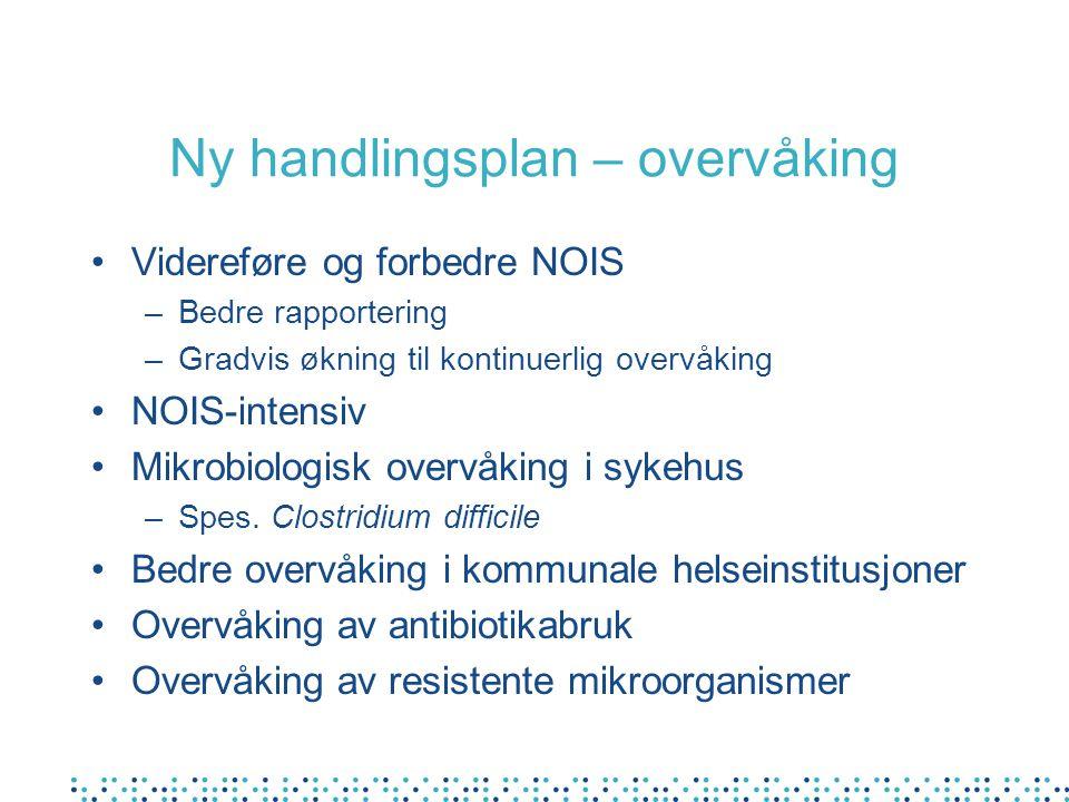 Ny handlingsplan – overvåking Videreføre og forbedre NOIS –Bedre rapportering –Gradvis økning til kontinuerlig overvåking NOIS-intensiv Mikrobiologisk overvåking i sykehus –Spes.