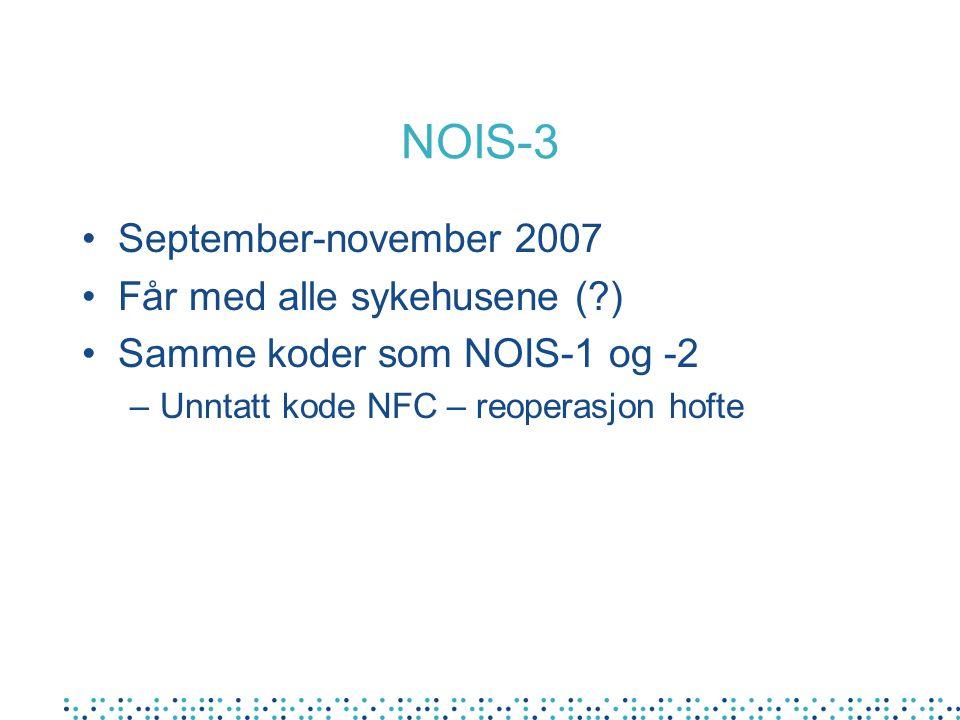 NOIS-3 September-november 2007 Får med alle sykehusene (?) Samme koder som NOIS-1 og -2 –Unntatt kode NFC – reoperasjon hofte