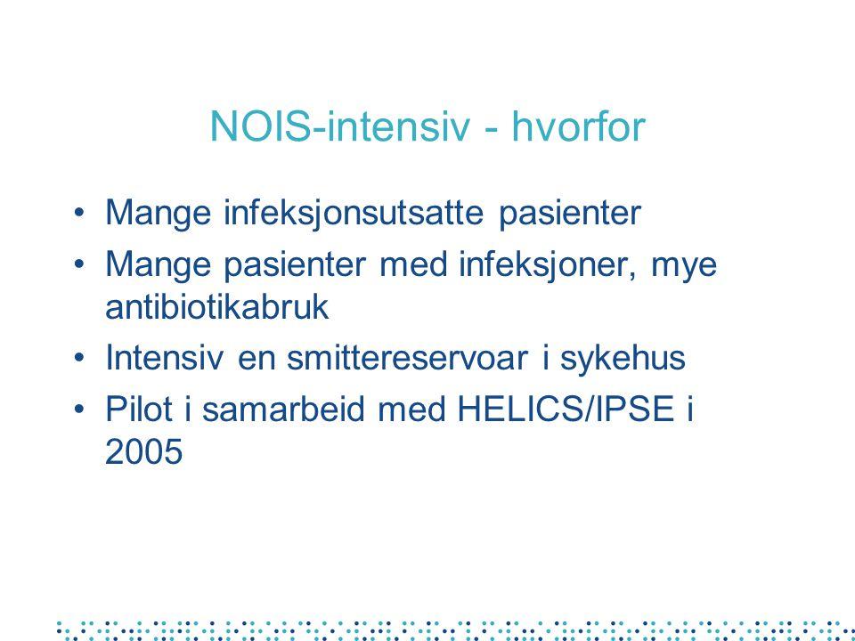 NOIS-intensiv - hvorfor Mange infeksjonsutsatte pasienter Mange pasienter med infeksjoner, mye antibiotikabruk Intensiv en smittereservoar i sykehus Pilot i samarbeid med HELICS/IPSE i 2005