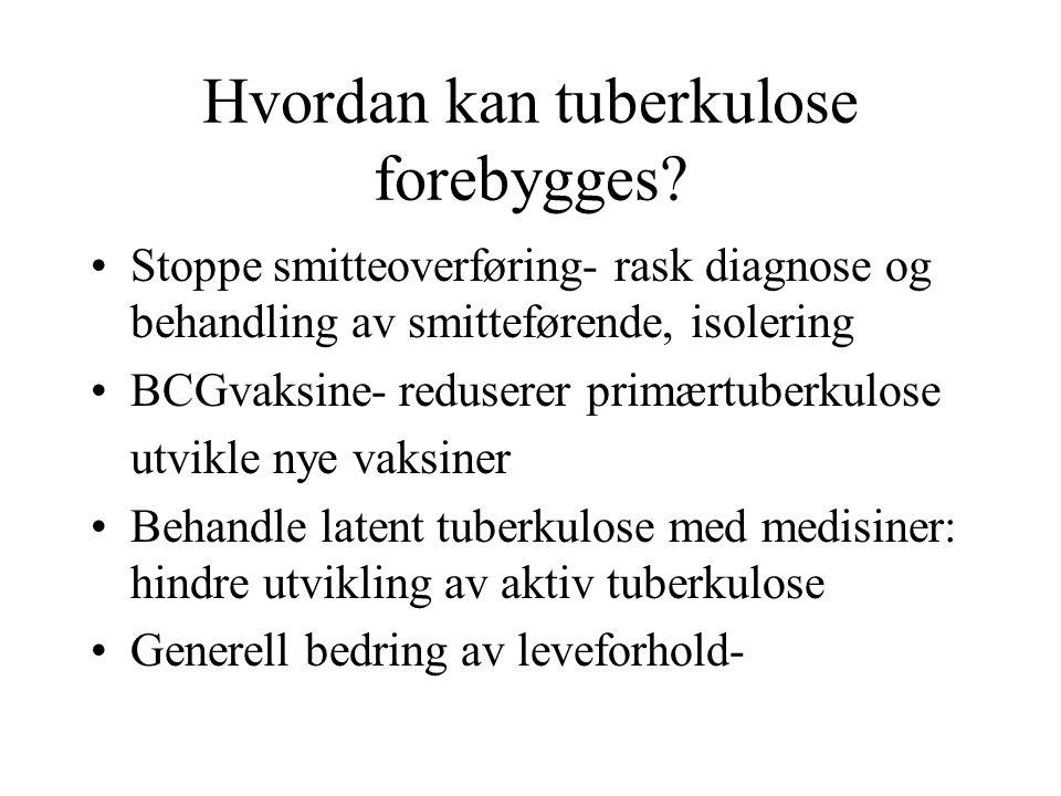 Hvordan kan tuberkulose forebygges? Stoppe smitteoverføring- rask diagnose og behandling av smitteførende, isolering BCGvaksine- reduserer primærtuber