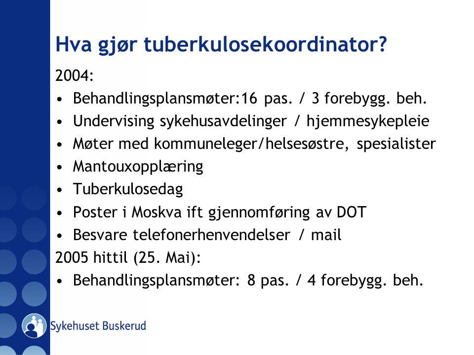 Hva gjør tuberkulosekoordinator? 2004: Behandlingsplansmøter:16 pas. / 3 forebygg. beh. Undervising sykehusavdelinger / hjemmesykepleie Møter med komm