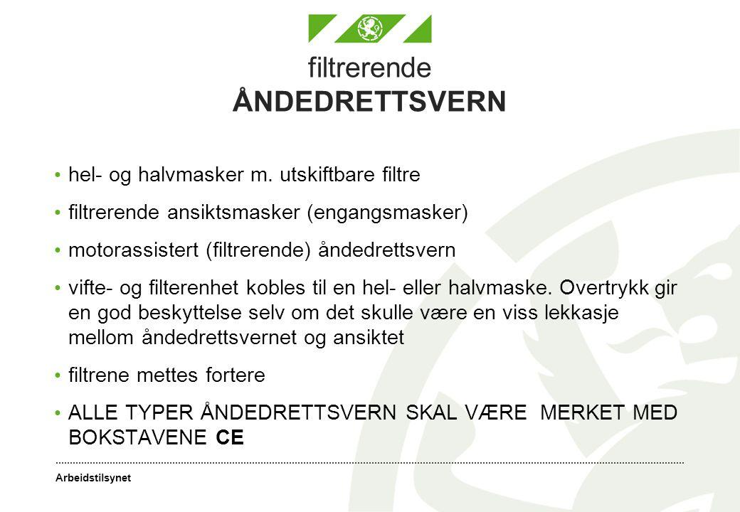 Arbeidstilsynet filtrerende ÅNDEDRETTSVERN hel- og halvmasker m.