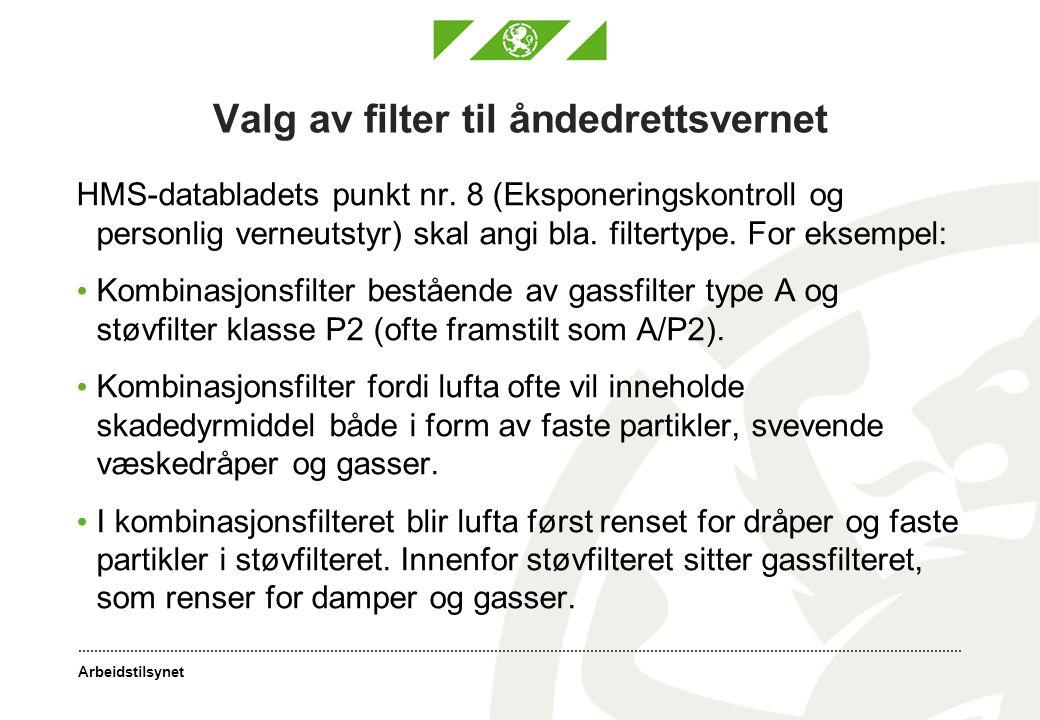 Arbeidstilsynet Valg av filter til åndedrettsvernet HMS-databladets punkt nr.
