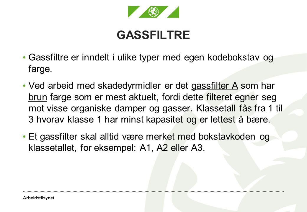 Arbeidstilsynet GASSFILTRE Gassfiltre er inndelt i ulike typer med egen kodebokstav og farge.