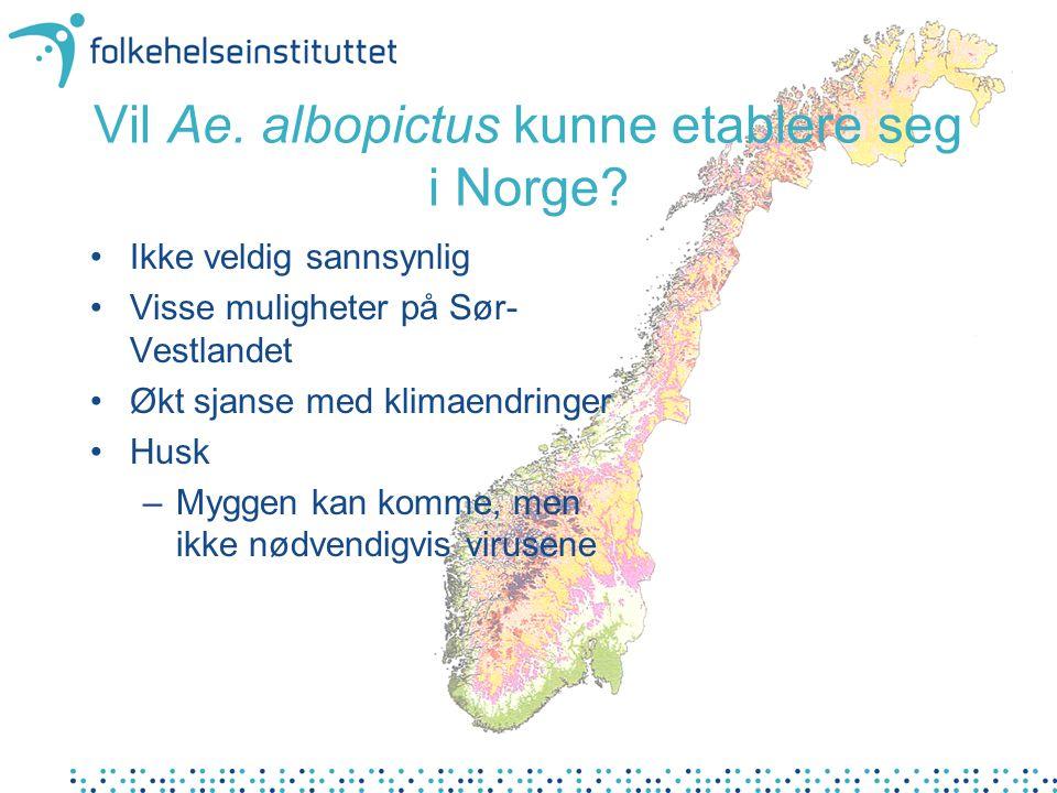 Vil Ae.albopictus kunne etablere seg i Norge.