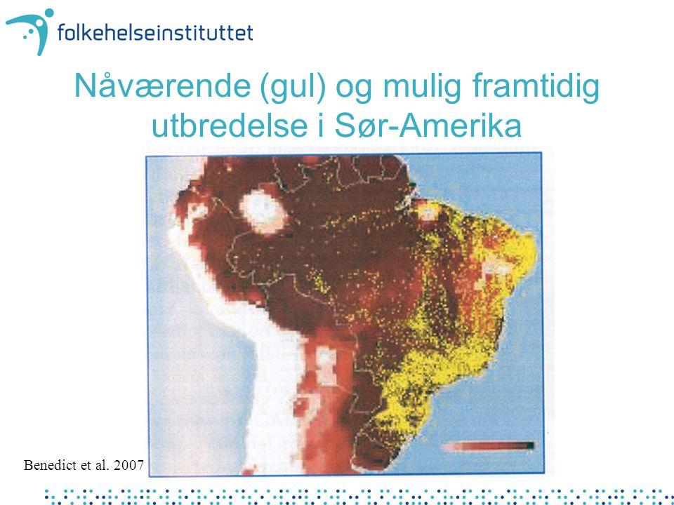 Nåværende (gul) og mulig framtidig utbredelse i Sør-Amerika Benedict et al. 2007