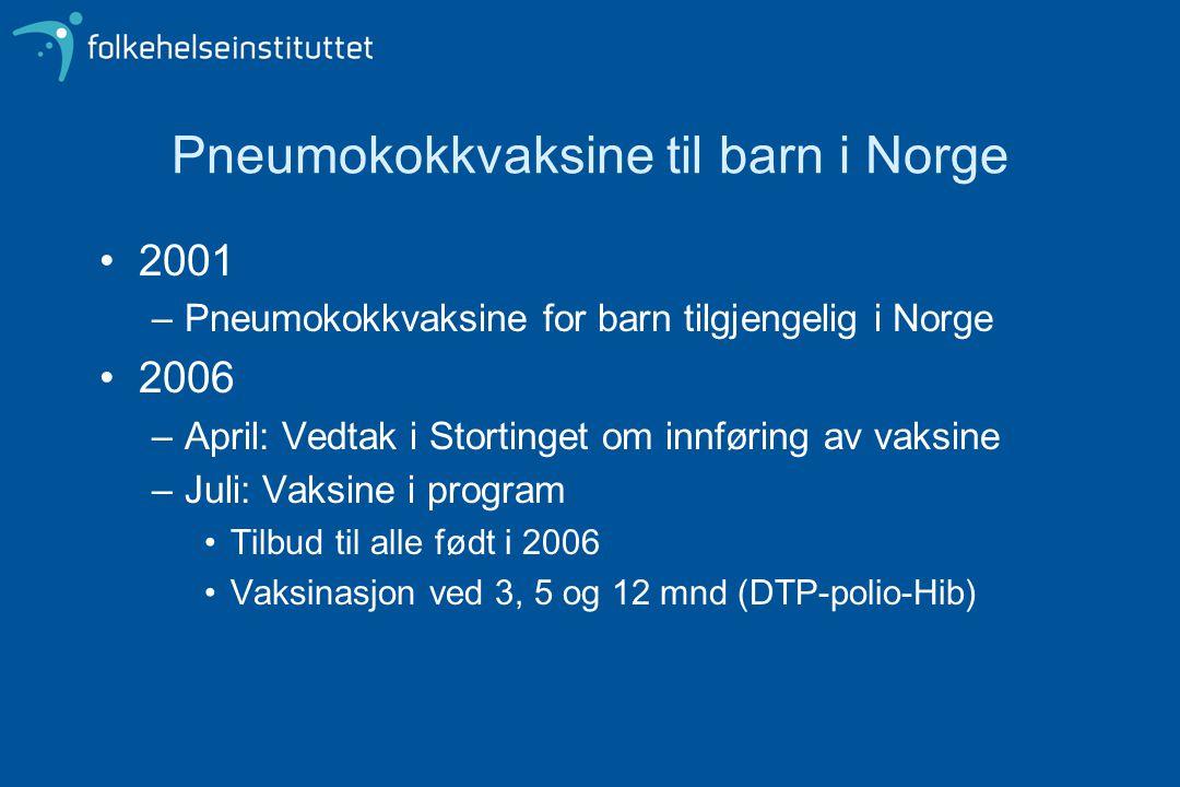 Pneumokokkvaksine til barn i Norge 2001 –Pneumokokkvaksine for barn tilgjengelig i Norge 2006 –April: Vedtak i Stortinget om innføring av vaksine –Jul