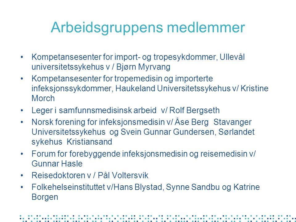 Arbeidsgruppens medlemmer Kompetansesenter for import- og tropesykdommer, Ullevål universitetssykehus v / Bjørn Myrvang Kompetansesenter for tropemedi