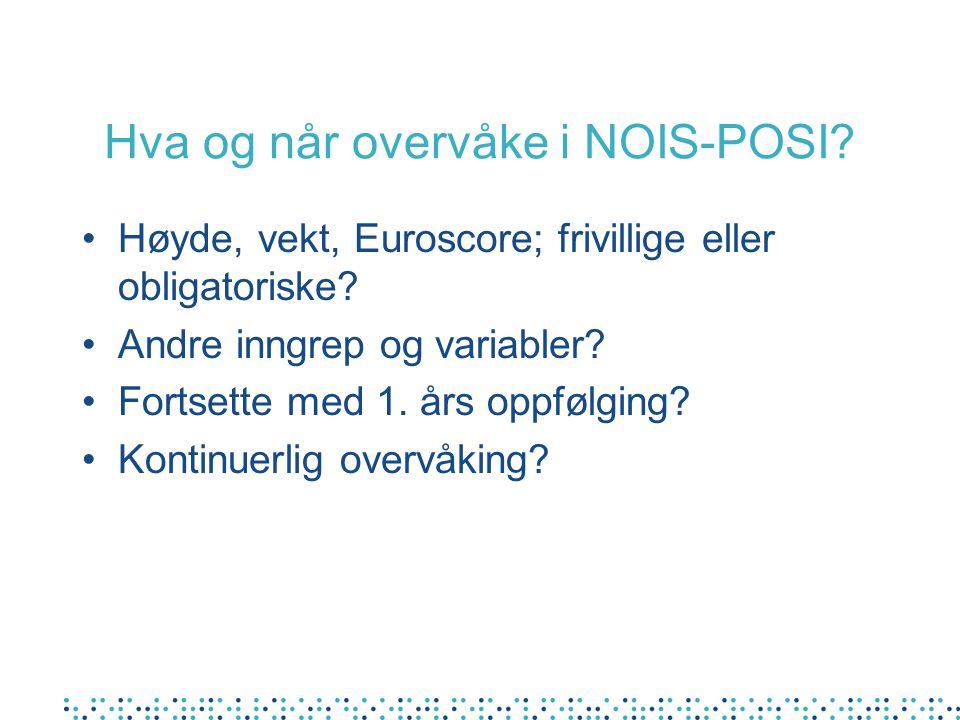 Hva og når overvåke i NOIS-POSI? Høyde, vekt, Euroscore; frivillige eller obligatoriske? Andre inngrep og variabler? Fortsette med 1. års oppfølging?
