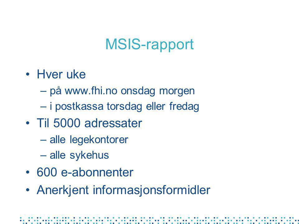 MSIS-rapport Hver uke –på www.fhi.no onsdag morgen –i postkassa torsdag eller fredag Til 5000 adressater –alle legekontorer –alle sykehus 600 e-abonnenter Anerkjent informasjonsformidler