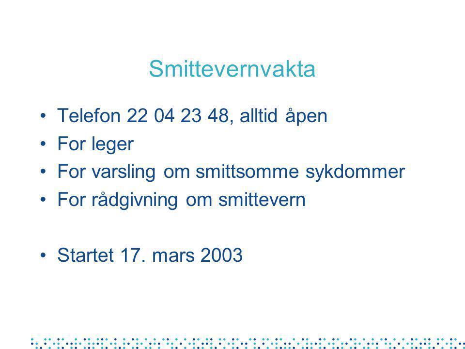 Smittevernvakta Telefon 22 04 23 48, alltid åpen For leger For varsling om smittsomme sykdommer For rådgivning om smittevern Startet 17.