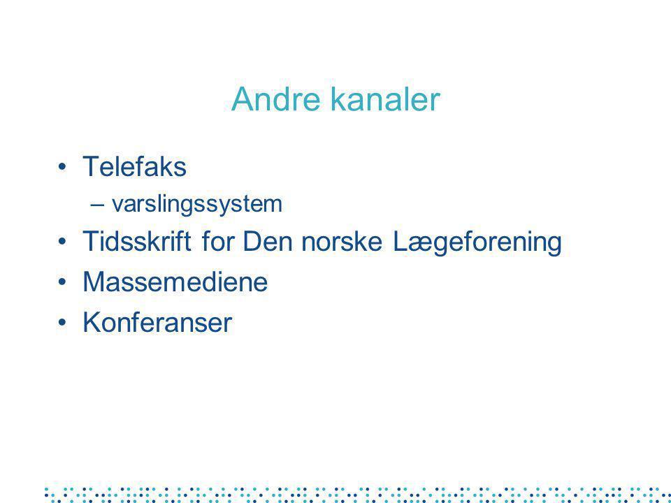 Andre kanaler Telefaks –varslingssystem Tidsskrift for Den norske Lægeforening Massemediene Konferanser