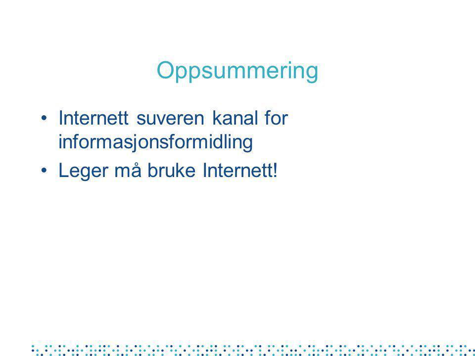 Oppsummering Internett suveren kanal for informasjonsformidling Leger må bruke Internett!