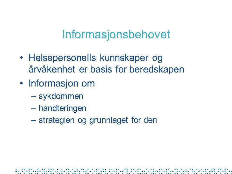 Informasjonsbehovet Helsepersonells kunnskaper og årvåkenhet er basis for beredskapen Informasjon om –sykdommen –håndteringen –strategien og grunnlaget for den