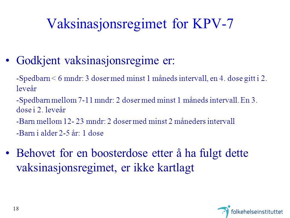 18 Vaksinasjonsregimet for KPV-7 Godkjent vaksinasjonsregime er: -Spedbarn < 6 mndr: 3 doser med minst 1 måneds intervall, en 4.
