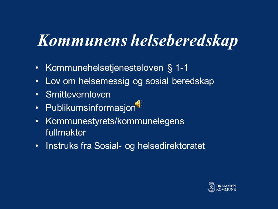 Hvilken beredskap bør kommune- helsetjenesten ha? Fagseminar om fugleinfluensa 27.03.06 Kommuneoverlege i Drammen kommune, Anne Wenche Lindboe Hvordan