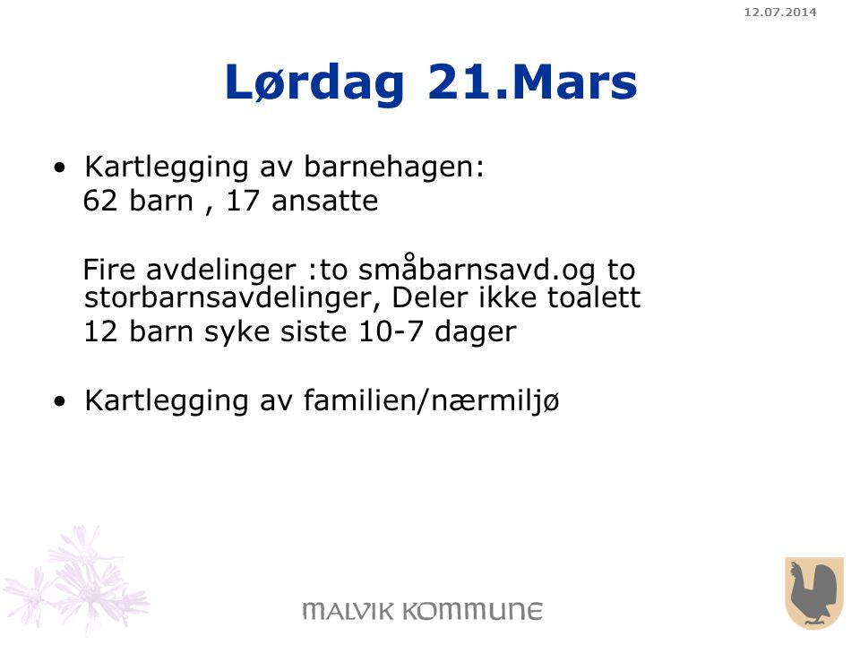 12.07.2014 Lørdag 21.Mars Kartlegging av barnehagen: 62 barn, 17 ansatte Fire avdelinger :to småbarnsavd.og to storbarnsavdelinger, Deler ikke toalett