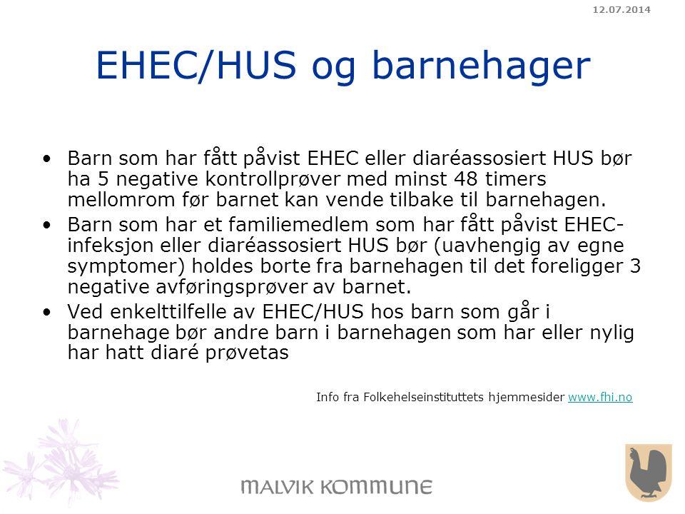 12.07.2014 EHEC/HUS og barnehager Barn som har fått påvist EHEC eller diaréassosiert HUS bør ha 5 negative kontrollprøver med minst 48 timers mellomro