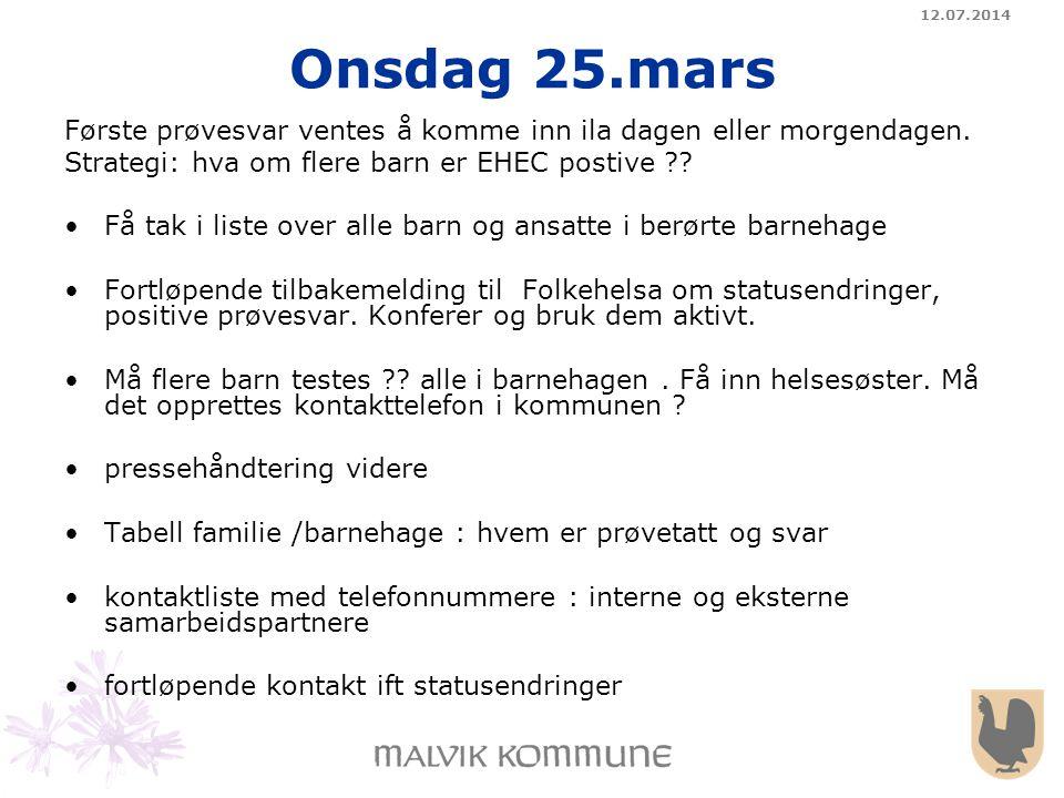 12.07.2014 Onsdag 25.mars Første prøvesvar ventes å komme inn ila dagen eller morgendagen. Strategi: hva om flere barn er EHEC postive ?? Få tak i lis