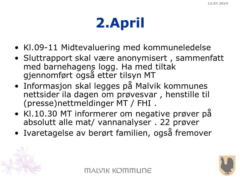 12.07.2014 2.April Kl.09-11 Midtevaluering med kommuneledelse Sluttrapport skal være anonymisert, sammenfatt med barnehagens logg. Ha med tiltak gjenn