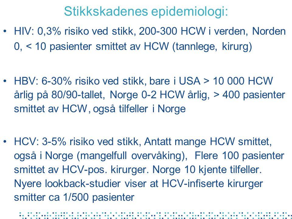 Stikkskadenes epidemiologi: HIV: 0,3% risiko ved stikk, 200-300 HCW i verden, Norden 0, < 10 pasienter smittet av HCW (tannlege, kirurg) HBV: 6-30% ri