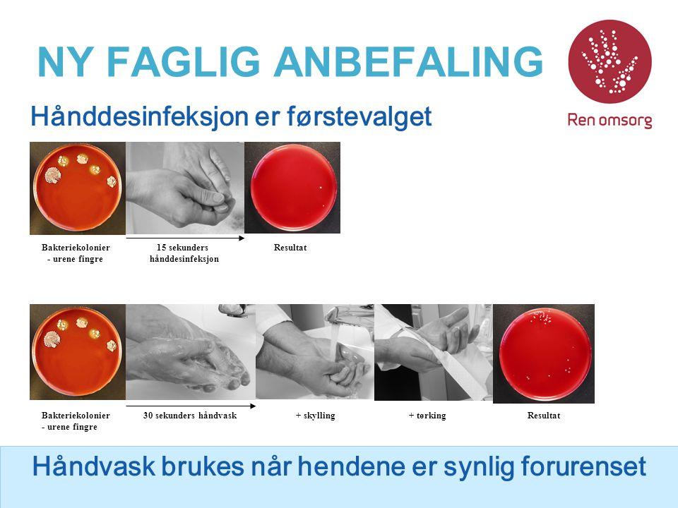 NY FAGLIG ANBEFALING Hånddesinfeksjon er førstevalget Håndvask brukes når hendene er synlig forurenset Bakteriekolonier - urene fingre 30 sekunders hå