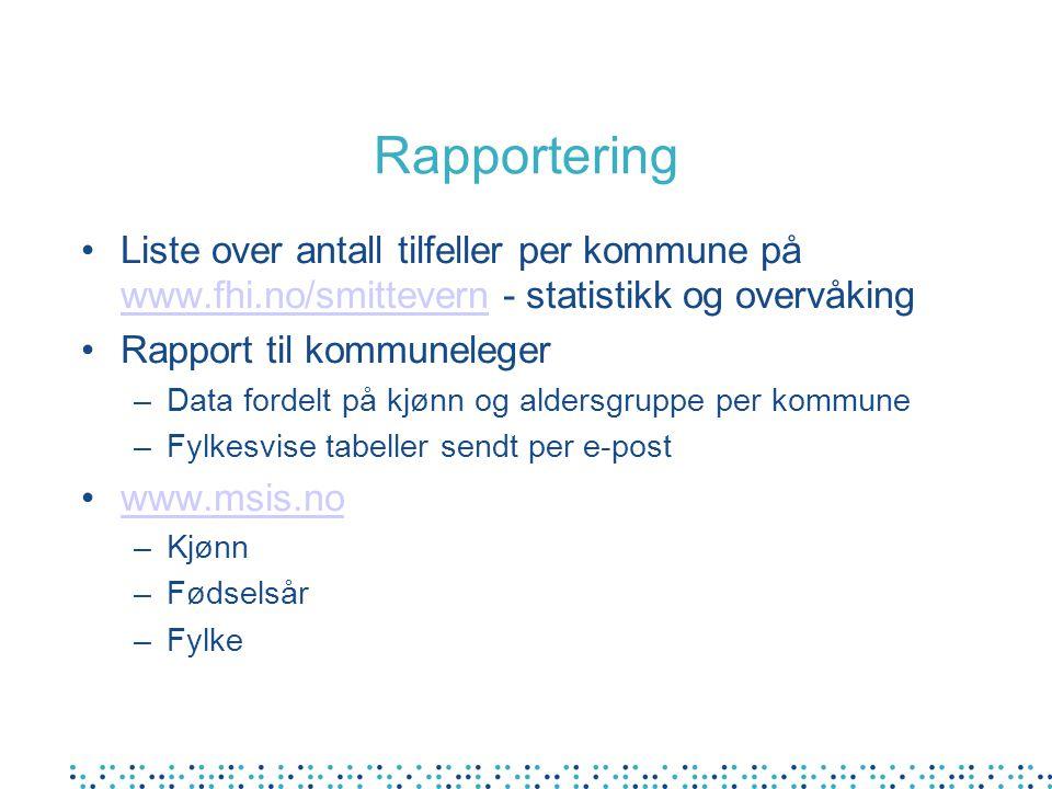 Rapportering Liste over antall tilfeller per kommune på www.fhi.no/smittevern - statistikk og overvåking www.fhi.no/smittevern Rapport til kommunelege