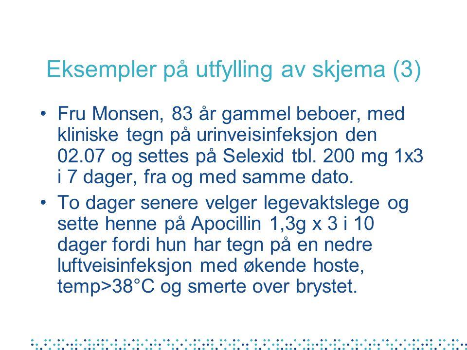 Eksempler på utfylling av skjema (3) Fru Monsen, 83 år gammel beboer, med kliniske tegn på urinveisinfeksjon den 02.07 og settes på Selexid tbl. 200 m