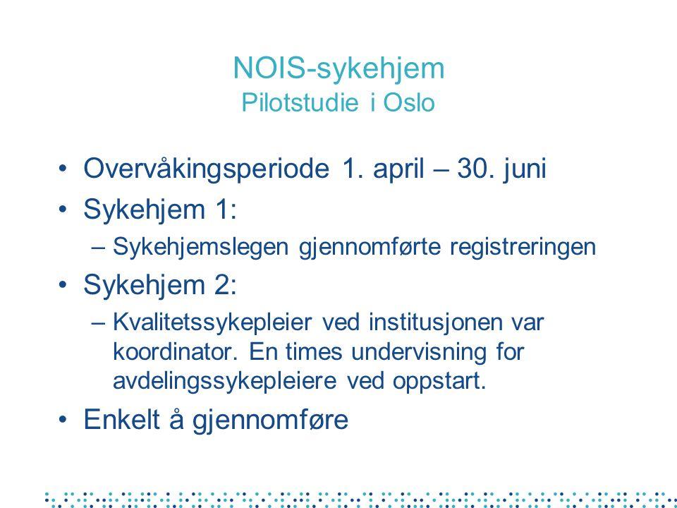 NOIS-sykehjem Pilotstudie i Oslo Overvåkingsperiode 1. april – 30. juni Sykehjem 1: –Sykehjemslegen gjennomførte registreringen Sykehjem 2: –Kvalitets
