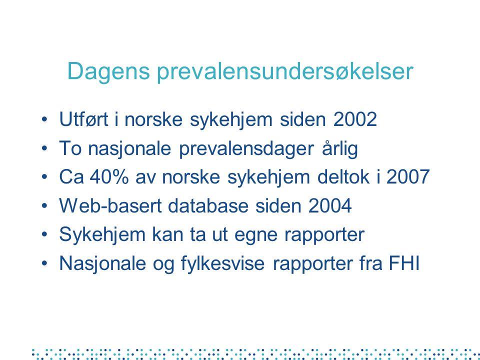 Dagens prevalensundersøkelser Utført i norske sykehjem siden 2002 To nasjonale prevalensdager årlig Ca 40% av norske sykehjem deltok i 2007 Web-basert