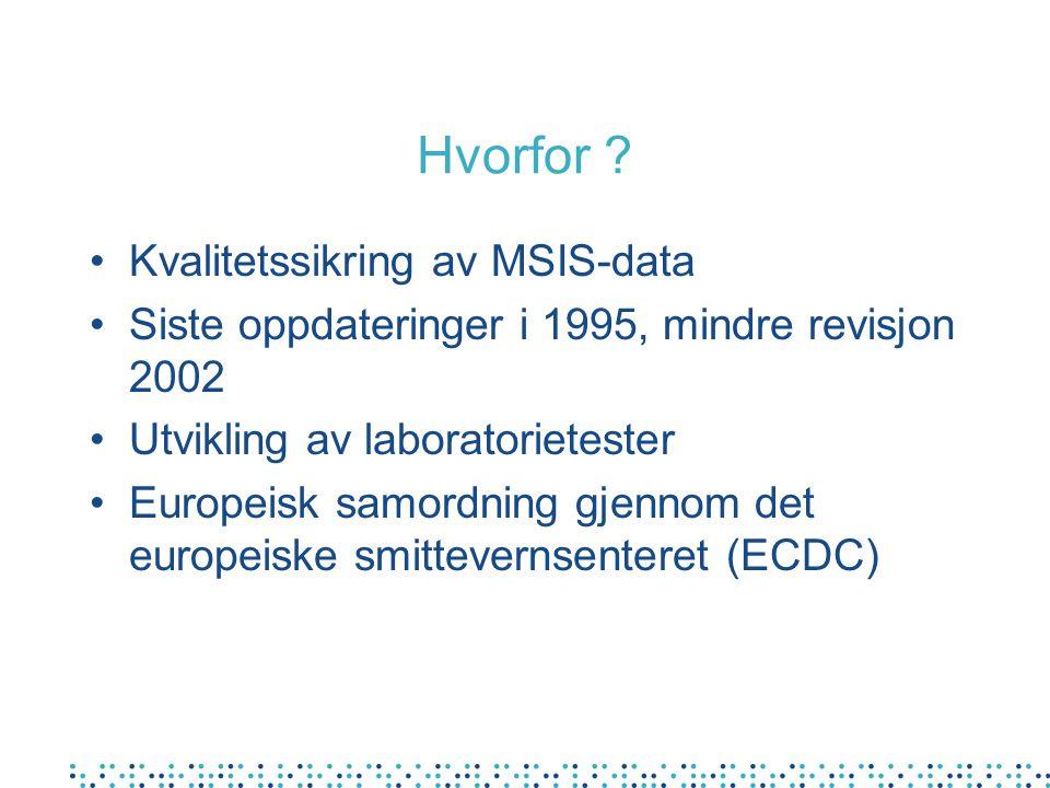 Hvorfor ? Kvalitetssikring av MSIS-data Siste oppdateringer i 1995, mindre revisjon 2002 Utvikling av laboratorietester Europeisk samordning gjennom d