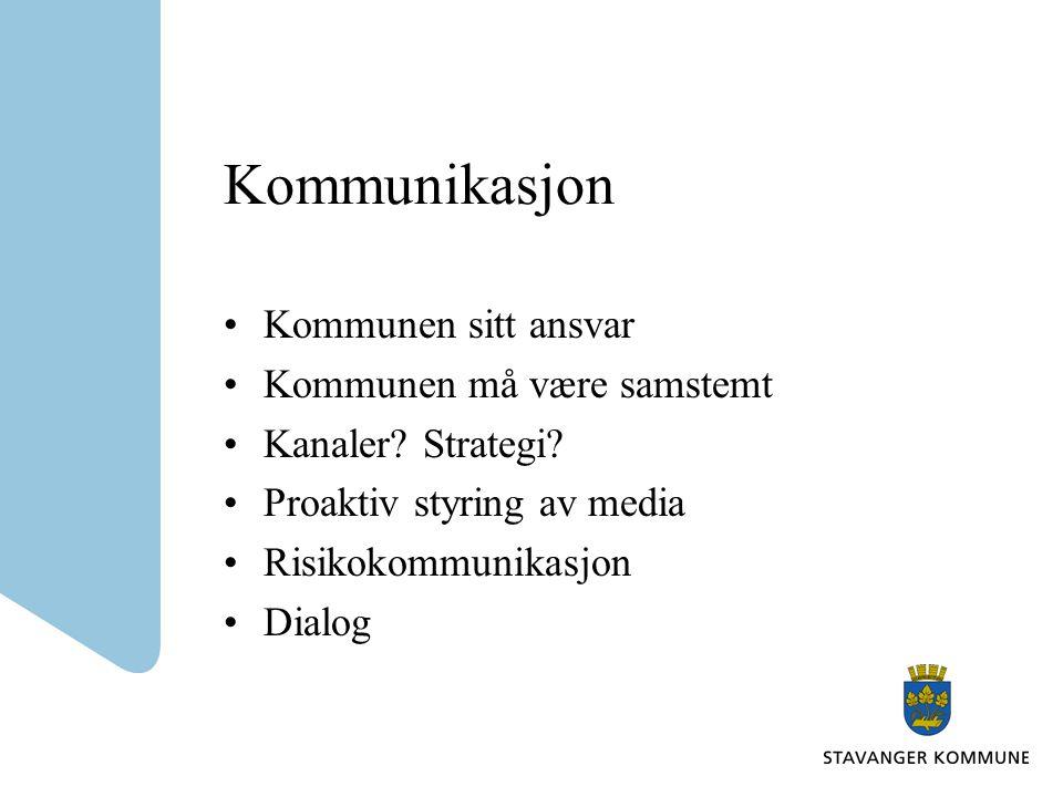 Kommunikasjon Kommunen sitt ansvar Kommunen må være samstemt Kanaler.