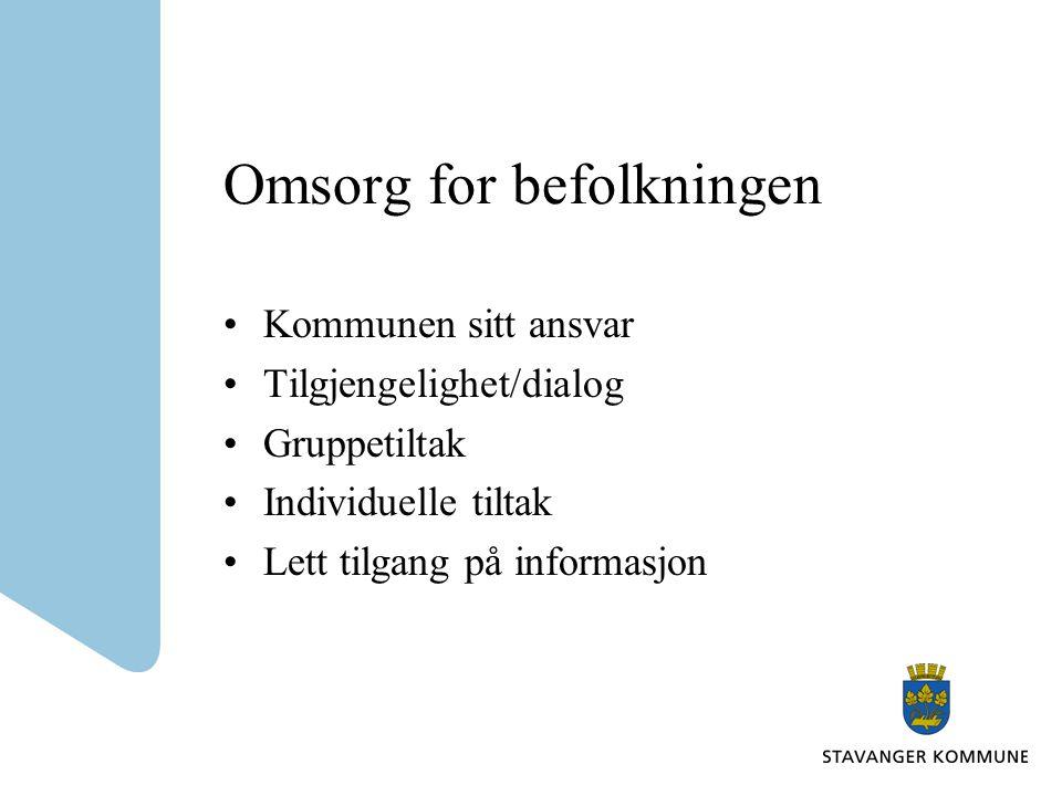 Omsorg for befolkningen Kommunen sitt ansvar Tilgjengelighet/dialog Gruppetiltak Individuelle tiltak Lett tilgang på informasjon
