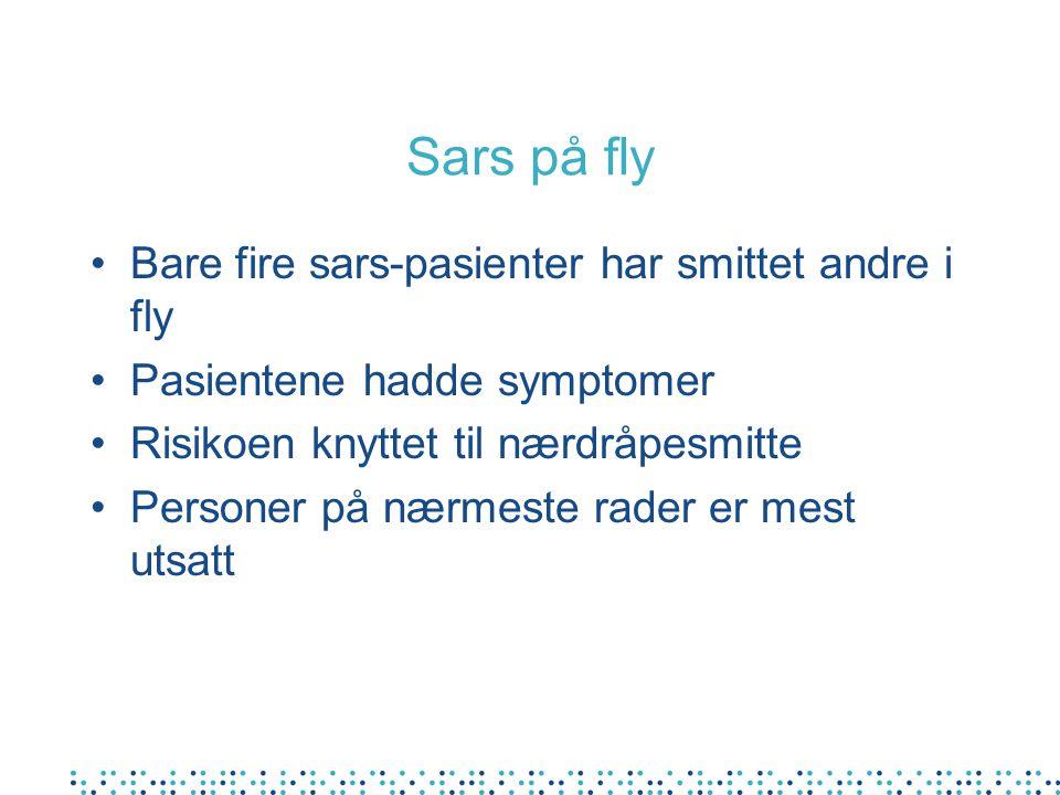 Sars på fly Bare fire sars-pasienter har smittet andre i fly Pasientene hadde symptomer Risikoen knyttet til nærdråpesmitte Personer på nærmeste rader er mest utsatt