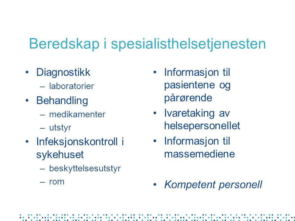 Beredskap i spesialisthelsetjenesten Diagnostikk –laboratorier Behandling –medikamenter –utstyr Infeksjonskontroll i sykehuset –beskyttelsesutstyr –ro