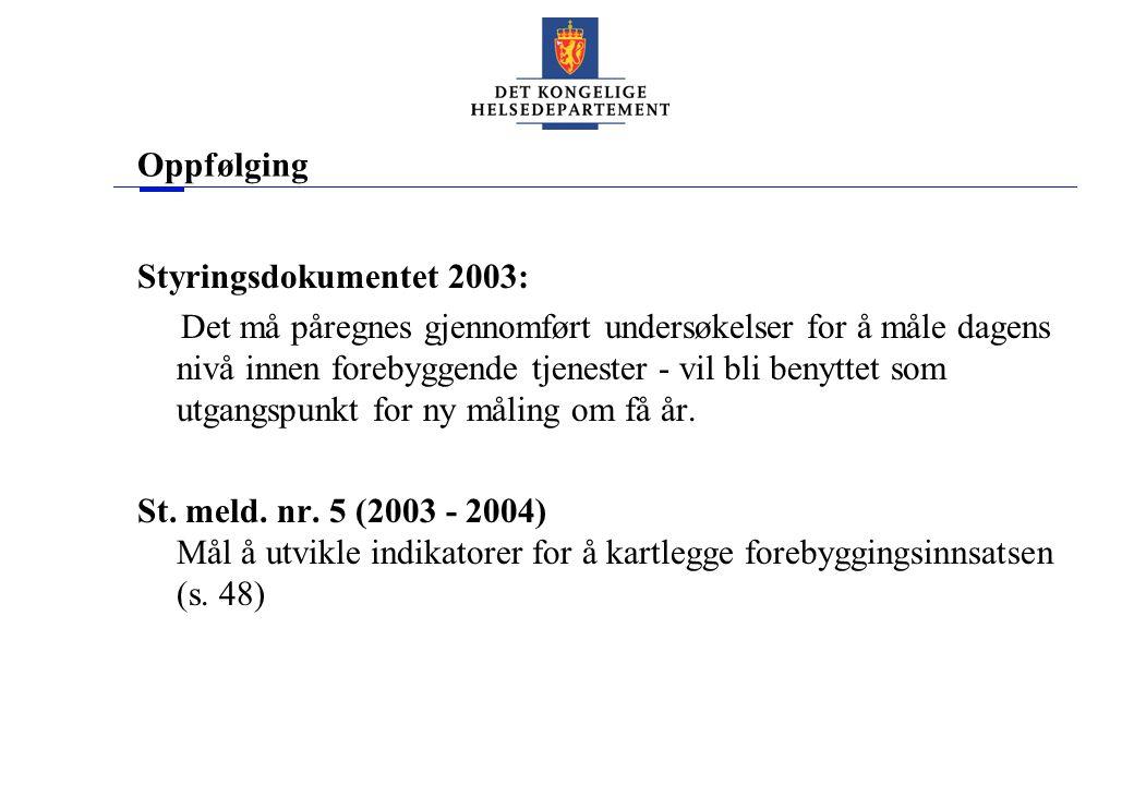 Oppfølging Styringsdokumentet 2003: Det må påregnes gjennomført undersøkelser for å måle dagens nivå innen forebyggende tjenester - vil bli benyttet som utgangspunkt for ny måling om få år.