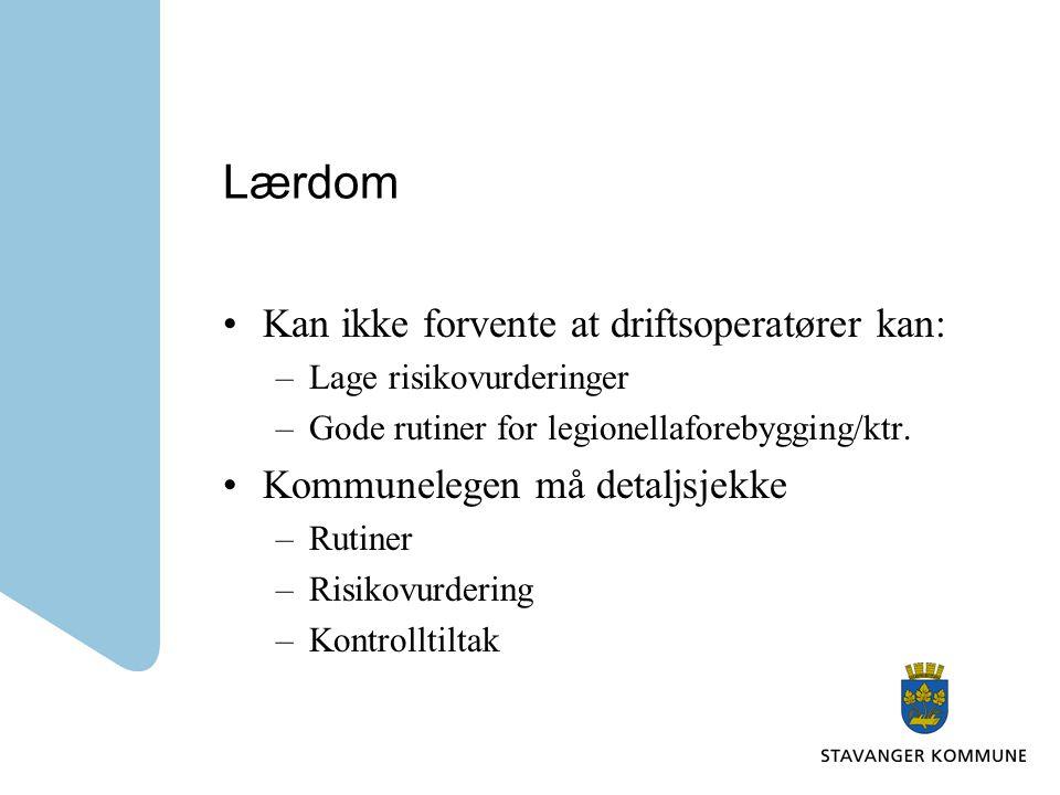 Lærdom Kan ikke forvente at driftsoperatører kan: –Lage risikovurderinger –Gode rutiner for legionellaforebygging/ktr.