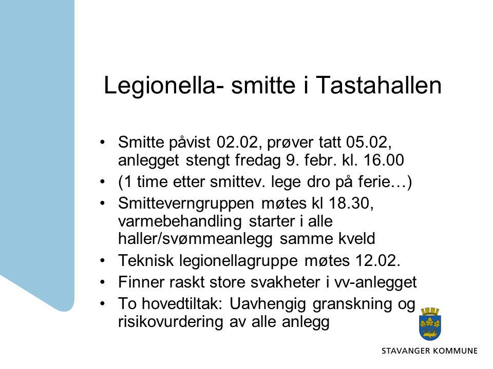 Legionella- smitte i Tastahallen Stort påtrykk fra mediene Lover gjenåpning primo mai Ufullstendige driftsinstrukser(2005) erstattes med nye.