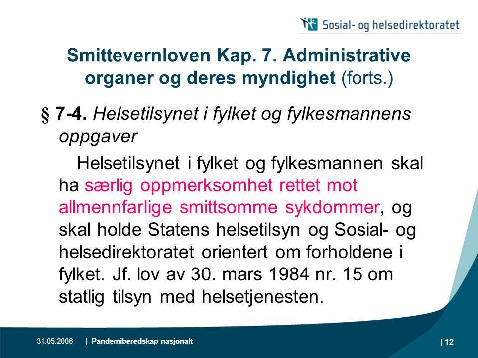 31.05.2006| Pandemiberedskap nasjonalt | 13 Smittevernloven Kap.