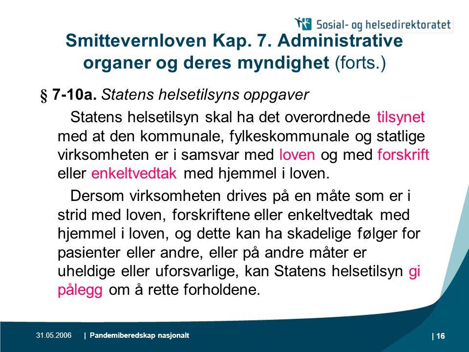 31.05.2006| Pandemiberedskap nasjonalt | 17 Smittevernloven Kap.