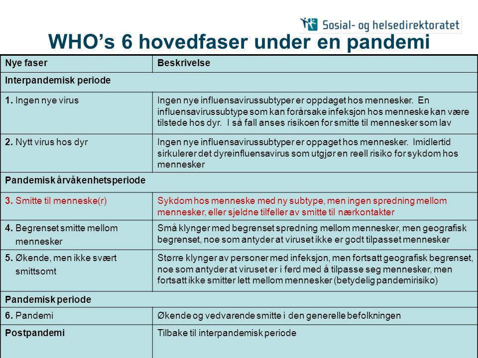 31.05.2006| Pandemiberedskap nasjonalt | 28 Oppgavefordeling under pandemiens forskjellige faser 1.Planlegging og koordinering 2.Overvåking og vurdering 3.Forebygging og begrensning 4.Helsesektorens respons 5.Kommunikasjon