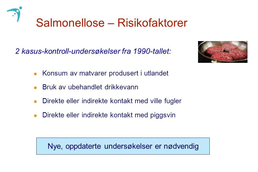 Salmonellose – Risikofaktorer l Konsum av matvarer produsert i utlandet l Bruk av ubehandlet drikkevann l Direkte eller indirekte kontakt med ville fu