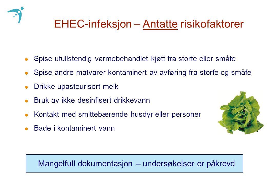 EHEC-infeksjon – Antatte risikofaktorer l Spise ufullstendig varmebehandlet kjøtt fra storfe eller småfe l Spise andre matvarer kontaminert av avførin