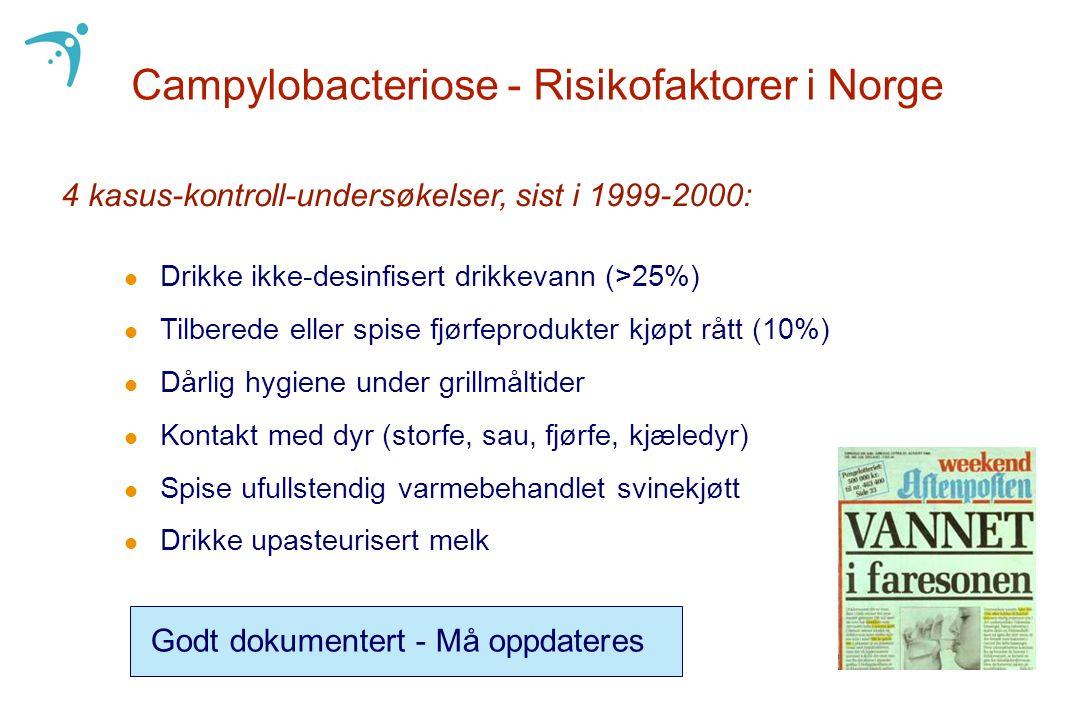 Campylobacteriose - Risikofaktorer i Norge l Drikke ikke-desinfisert drikkevann (>25%) l Tilberede eller spise fjørfeprodukter kjøpt rått (10%) l Dårl