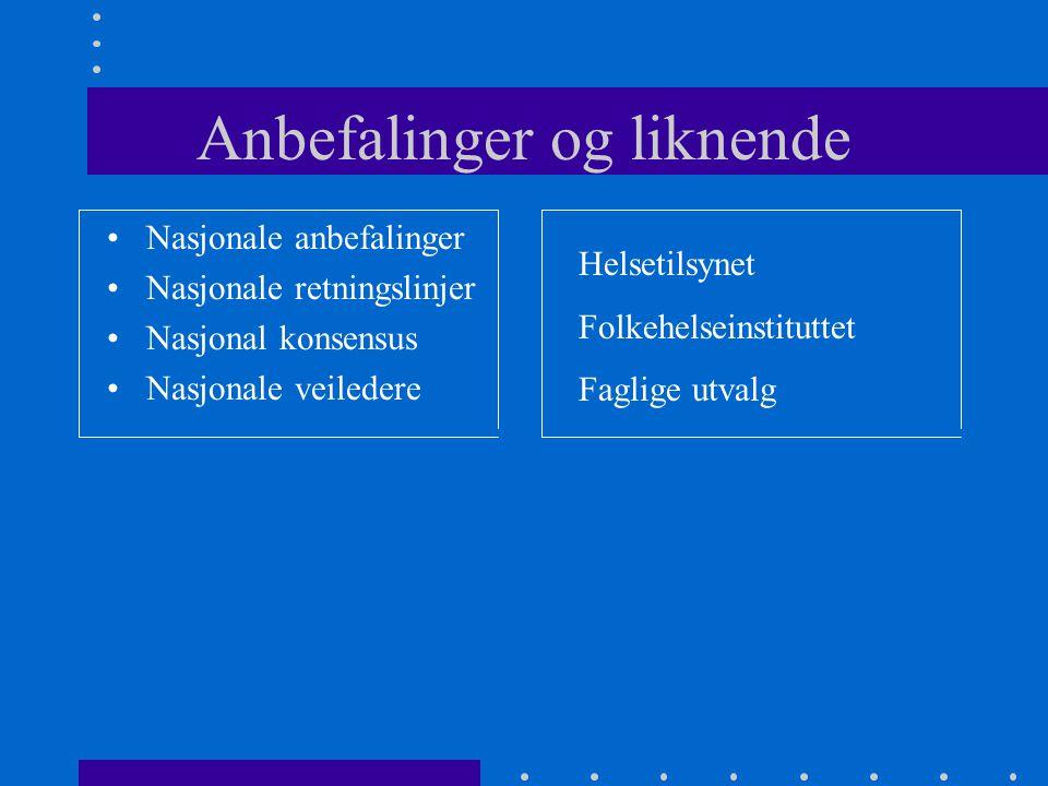 Anbefalinger og liknende Nasjonale anbefalinger Nasjonale retningslinjer Nasjonal konsensus Nasjonale veiledere Helsetilsynet Folkehelseinstituttet Faglige utvalg